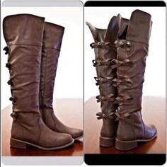 "⭐️SIZES 5.5 or 6⭐️NIB Brown Bow Back Boots ⭐️ONLY 5.5 or 6⭐️NIB Brown Bow Back Riding Boots. Dark brown with adorable bow details. Stitch detailing, stacked heel, and inner side zipper closure for easy on and off wear. Lined with a padded footbed for the best fit. Man made materials. Shaft height: 19"", Top opening is approx 16"", middle of the boot calf circumference is approx 14"".No Trades and No Paypal Shoes Over the Knee Boots"