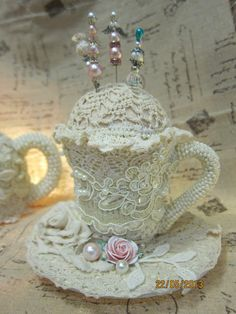 MsGardenGrove1: Altered shabby chic teacup and teapot for Bonnie(S...