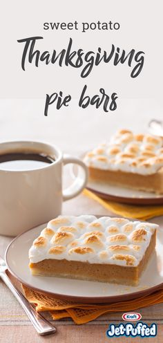 Sweet Potato Pie Bars – These Sweet Potato Pie Bars are made with a scrumptious cream-cheese crust and are finished with the classic toasted marshmallow topping. Your family may never want plain ol' sweet potato pie again!- I'm trying this next year Thanksgiving Desserts, Holiday Desserts, Holiday Baking, Köstliche Desserts, Delicious Desserts, Dessert Recipes, Yummy Food, Pumpkin Recipes, Fall Recipes