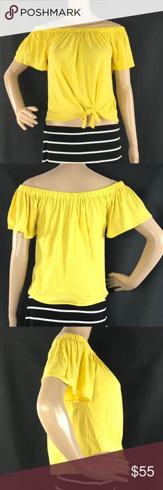 """Cupcakes and Cashmere Yellow Off Shoulder Top NWT Cupcakes and Cashmere W348 Womens XS Yellow Off Shoulder Kathie Blouse Top  New with tag! Brand new and unworn. Size - XS Color - Yellow Material - 100% Cotton Width (pit to pit) - 14.5"""" Length - 18""""  Black White Striped Skirt not included. Cupcakes and Cashmere Tops Blouses"""