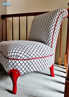 Awesome reupholstered chair. I love the chair legs being a bright color.