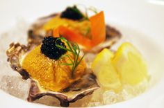 New favorite dish added from Contributing Chef Suzanne Tracht. #Oyster half shell with #uni and #caviar from K-ZO. #seafood #small #bites #dinner #fresh #raw #sushi #japanese #culvercity #LA #chefsfeed