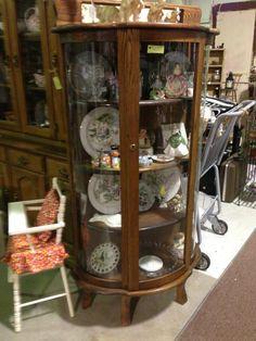 Rare Vintage Tiger Oak Curved Glass Display Cabinet in Excellent ...