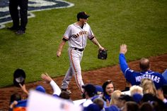 San Francisco Giants starting pitcher Jake Peavy heads for the dugout in the second inning against the Kansas City Royals in Game 6 of baseball's World Series at Kauffman Stadium in Kansas City, Mo., on Tuesday, Oct. 28, 2014. (Jose Carlos Fajardo/Bay Area News Group)