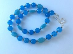 Sky Blue Jade and Aqua Quartz Necklace by roseyandellen on Etsy