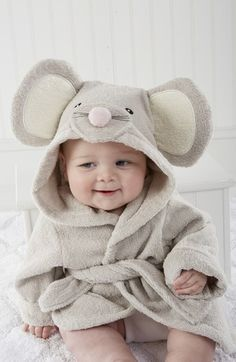 Baby Aspen 'Squeaky Clean' Mouse Hooded Terry Robe (Baby) available at #Nordstrom