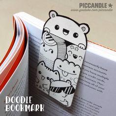 DIY ~ Mini Doodle Bookmark [Video] by PicCandle on DeviantArt Mini Doodle, Cute Doodle Art, Doodle Art Designs, Doodle Art Drawing, Kawaii Drawings, Art Drawings Sketches, Easy Drawings, Kawaii Doodles, Cute Doodles