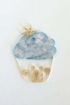 New to ThePaperyCraftery on Etsy: Quilling Paper Blue and Ivory Cupcake with Snowflake Home Decor Dessert Art Wintertime Decoration Christmas Snowflake  Baker Gift (28.00 USD)