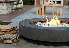 Gas fire pit bowl round 33 fire bowl kit our landscape for Precast concrete outdoor fireplace kits