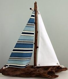Driftwood Sailboat with Blue Striped Sails Driftwood Projects, Driftwood Art, Seaside Decor, Coastal Decor, Sea Crafts, Style Deco, Creation Deco, Summer Crafts, Beach Themes