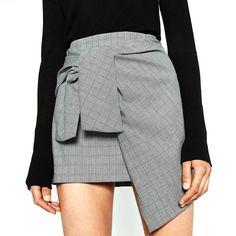 Brand New Women Bowknot Asymmetrical Plaid Skirts Jupe Dentelle High Waist Wrap Sexy Runway Mini Skirt Cute Skirts, Plaid Skirts, Short Skirts, Short Dresses, Mini Skirts, Gingham Skirt, Short Women Fashion, Womens Fashion, Fashion 2016