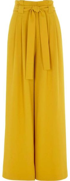 River Island Womens Yellow paper bag waist wide leg trousers