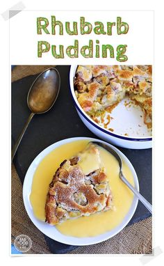 Rhubarb Pudding (with step by step video) - A delicious, comforting Rhubarb Pudding with a hint of vanilla, great served with custard or vanilla ice cream. Easy Rhubarb Recipes, Rhubarb Desserts, Spring Desserts, Brunch Recipes, Breakfast Recipes, Dessert Recipes, Budget Recipes, Pudding Recipes, Homemade Desserts
