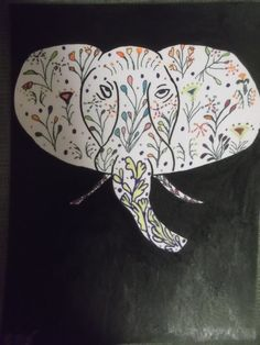 Unique Elephant Acrylic Painting Mixed Media Zentangle by missy69 #teamsp