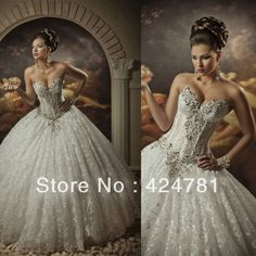 Sweetheart Luxury Crystal Beaded Lace Ball Gown Wedding Dresses Floor Length With Lace Up Back 2014 New Design
