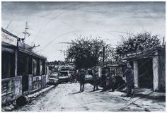 An original work by Phillemon Hlungwani entitled: John Brand Street and 7th Avenue (ALEX) III mixed media on paper 70 x 105cm. For more please visit www.finearts.co.za South African Artists, 7 Avenue, Fine Art Gallery, Contemporary Art, Street View, Mixed Media, Google Search, Paper, House