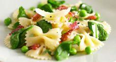 Pasta met erwtjes en pancetta