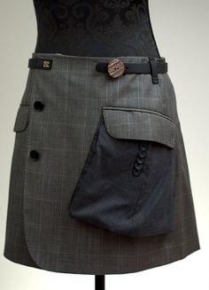 Handmade skirt made from mens jacket . Size S/M