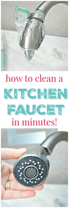 How To Get Your Kitchen Faucet Clean In Minutes. No chemicals or heavy scrubbing necessary. This cleaning hack will save you time and money and will leave your kitchen faucet clean and free of mold, mildew and bacteria.