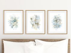 Abstract painting bedroom wall decor over the bed set of 3 prints in blue grey brown. Triptych watercolor 3 piece wall art matching pictures