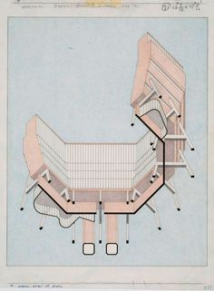 JAMES STIRLING - axonometric drawing (elevation oblique) worms eye view statements by a series of architects on the value and use of axonometric drawings (for an exhibit of Stirlings drawings at. Architecture Graphics, Architecture Drawings, Architecture Today, Drawing Architecture, Architecture Models, Modern Architecture, Oblique Drawing, James Frazer, James Stirling