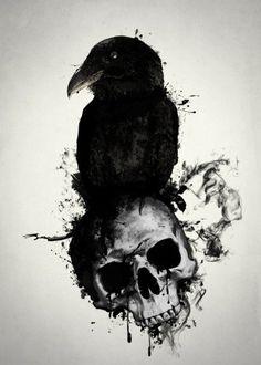 raven skull death viking norse mythology pagan hugin munin huginn muninn bird prey illustration spatter crow oden odin Animals