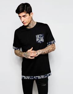 Image 1 of ASOS Longline T-Shirt With Printed Pocket And Double Layer Effect