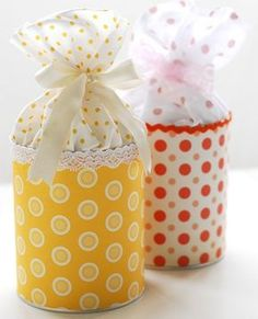 Gift Wrapping Inspiration : Cute small gift packaging- Tin can covered in fabric or paper, fabric glued to inside top of can and tied off with a bow! Tin Can Crafts, Diy And Crafts, Paper Crafts, Pretty Packaging, Gift Packaging, Simple Packaging, Packaging Ideas, Craft Gifts, Diy Gifts