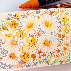 Ohn Mar Win - More floral exploration with a mixture of watercolours and pen 33/365 mostly done live on periscope.