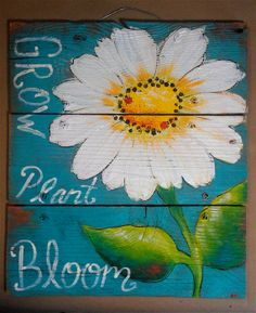 Rustic Wood Sign Daisy ladybugs bloom plant by cackleblossums, $59.00