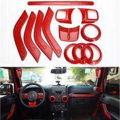 Full Set Red 12Pcs Interior Decoration Trim Kit For Jeep Wrangler Cab 11-16
