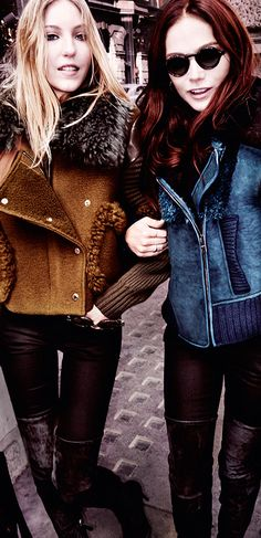 Wearing shearling jackets, Clara Paget and Ella Richards step out in London's St James's for the new Burberry campaign