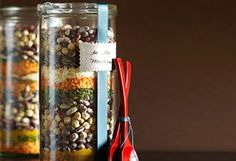 Create mixed bean soup mixes in a decorated jar. You can give it alone or in a basket with broth and instructions like Oprah suggests.