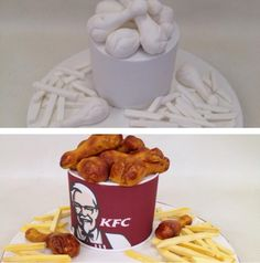 KFC cake by planet cake in sydney Kfc Cake, Cakes That Look Like Food, Planet Cake, Sculpted Cakes, Crazy Cakes, Drip Cakes, Cake Pops, Cake Decorating, Sweets