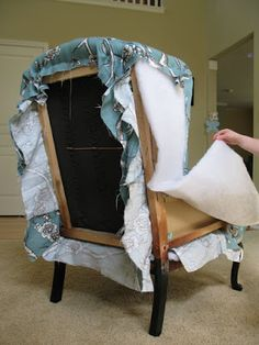 Modest Maven: Vintage Blossom Wingback Chair- step by step on reupholstering a chair.