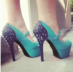 Fancy Green & Black Contrast Colour Coppy Leather High Heel Shoes