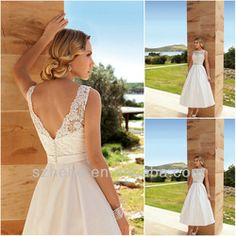 Online Shop Free shipping CW1363 Bateau a-line low back ivory lace casual cheap ankle length wedding dresses|Aliexpress Mobile