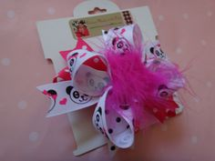 Panda print boutique style bow, layered bow, hair clip