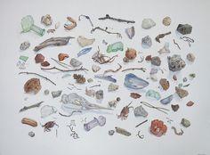 """Beach Debris 2014 watercolor 24.75"""" x 29.75"""" Mary Aro"""