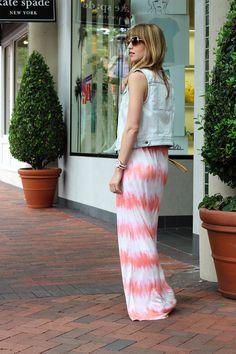 coral maxi dress and denim vest