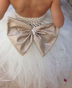 Flower Girl Dress, Big Bow Tutu Dress by Isabella Couture