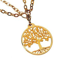 """Tree of Life Gold-dipped Pendant Necklace on 18-36"""" Gold Plated Cable Chain. 20% of From War to Peace profits are dedicated to peace and social justice organizations committed to transforming our world. Hand crafted from disarmed & recycled American Weapons of War. Our packaging is created using recycled and biodegradable materials. Our gold-dipped and silver-dipped jewelry is cast from Peace Bronze, and plated using recycled precious metals. Pendant measures 1 1/2"""" in diameter and weighs…"""