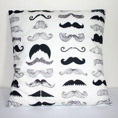 mustache pillow $17