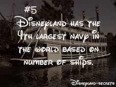 Disneyland Secrets: Based on the number of ships. Disneyland has the fourth largest navy in the world.