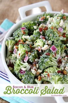This Bacon and Blue Broccoli Salad recipe is perfect for those picnics and potlucks!  The flavors are just absolutely amazing!