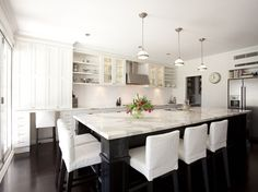 kitchens - Restoration Hardware Clemson Pendant two tone sink in kitchen island white shaker kitchen cabinets ebony black kitchen island calcutta gold marble countertops white slipcovered counter stools