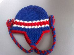 NFL Team Hat, Football Team Hat, New York Giants Hat, Ear Flap Hat, Newborn Hat, Boys-Girls Hat, Crochet Baby Hat, Ready to Ship For 14$ plus shipping  have any question please feel free to contact me