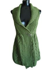 Long Lace Shawl Collared Vest - Electronic Download