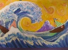 via Second grade--Hokusai. LOVE the creativity of 2nd grade teachers to use art, iPad education, music & more to inspire.