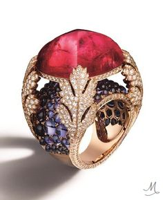 Giampiero Bodino Partenope ring in white gold, diamonds, sapphires and purple rubellite